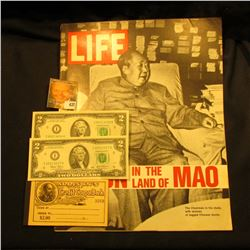 "March 3, 1972 ""LIFE"" with article ""Nixon in the Land of Mao""; pair of CU consecutive Serial Numbered"