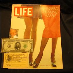 "March 13, 1970 ""LIFE"" Magazine with article ""The Great Hemline Hassle""; Series 1934B VF $5 Federal R"