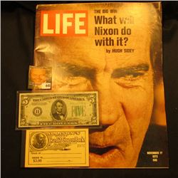 "November 17, 1972 ""LIFE"" Magazine with article ""The Big Win What will Nixon do with it? by Hugh Side"