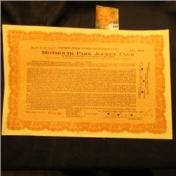 "April 30, 1947 100 Shares of ""Monmouth Park Jockey Club"", star punched hole cancels."