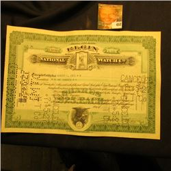 "June 23, 1927 Stock Certificate for 100 Shares ""Elgin National Watch Co."", hole cancelled."