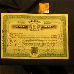 "June 27, 1927 Stock Certificate for 25 Shares ""Elgin National Watch Co."", hole cancelled."