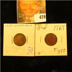 (2) 1865 Indian Head Cents. AG-G.