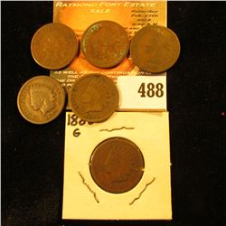 1880, 1882, 1883 (bent), 1888, & 1890 Indian Head Cents.