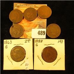 1862, 1880 (holed), 1883, 1885, 1888, 1890, & 1896 Indian Head Cents.