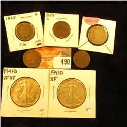 1863 Copper-nickel Good, 1880 Good, 1888 Good, & 1890 Good Indian Head Cents; 1912 D Liberty Nickel