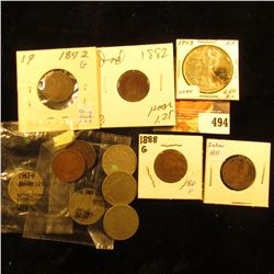 1882, 1888, 1889, 1890, 1891, & 1892 Indian Head Cents; 1900, 1902, & 1911 Liberty Nickels; Pair of