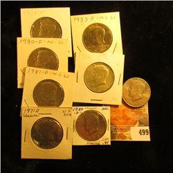 1966 P, 71 D, 72 D, 74 P, 80 D, 81 D,  83 D, 89 D, & 90 D AU to Gem BU Kennedy Half Dollars.