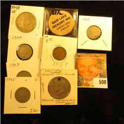 1976 D Kennedy Half Dollar (holed for a necklace); 1927 P Cent Fine; 1895, 1903, 1904, & 1911 Libert