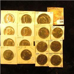 (7) 1971 D, 72 D, 74 P, 81 D, 89 D, 91 D, 92 D, & (2) 1996 P Gem BU Kennedy Half Dollars, some are p