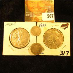 1859 Seated Liberty Half Dime; 1874 Seated Liberty Dime (bent); 1945 P World War II Silver Walking L