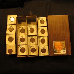 """3 1/4"""" x 6 1/4"""" double row Stock Box full of Lincoln Cents in holders. Coins date 1929 D-31."""