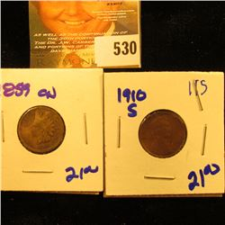 1910-S Wheat Penny Plus 1859 Cn Indian Head Penny