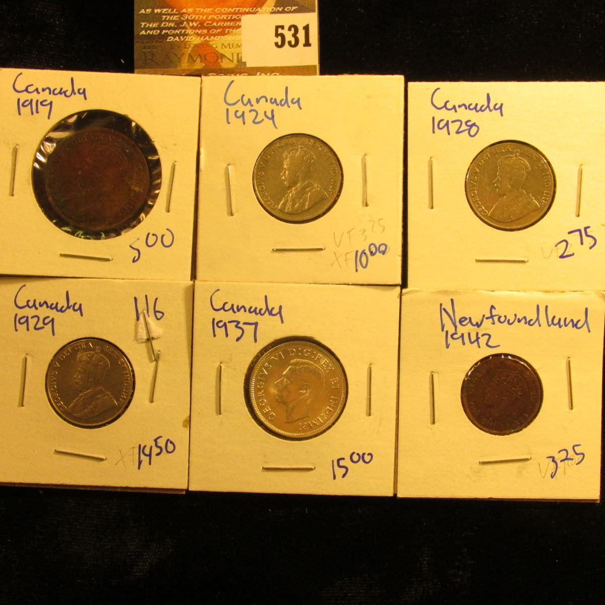 Canadian Coin Lot Includes A 1942 Newfoundland Penny, 1924 Canadian Nickel,  1928 Nickel, 1937 Quarte