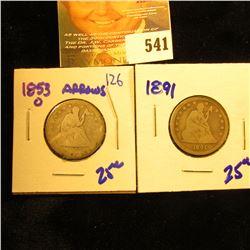 1891 And 1853-O Seated Quarters
