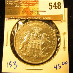 German States/Hamburg 1914-J Silver Three Mark Coin.  It Has The Hamburg Coat Of Arms On The Front