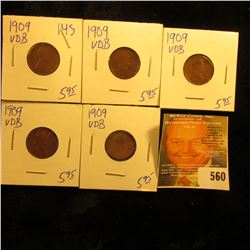 5 Carded 1909 VDB Wheat Penny