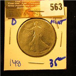 1917-D Early Date Walking Liberty Half Dollar