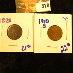 1875 Indian Head Penny Plus 1910-S Wheat Penny