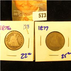 1876 And 1877 Seated Quarters