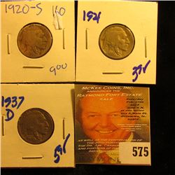 1937-D Buffalo Nickel With Full Horn, 1921 Buffalo Nickel, And 1920-S Buffalo Nickel