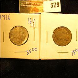 1916 Buffalo Nickel With Full Horn And 1917 Buffalo Nickel