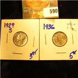 1929-S And 1936 Mercury Dimes