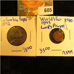 1893 Columbia Exposition World's Fair Token With The Lord's Prayer On The Reverse.  This Coin Is Sma