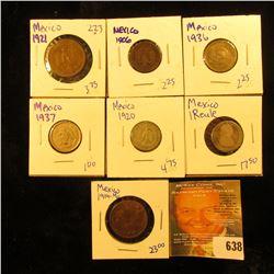Mexican Coin Lot Includes Silver 1 Reale, 1920 20 Centavos, 1937 5 Centavos, 1936 5 Centavos, 1906 1