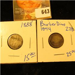 1894 Barber Dime And 1888 Seated Dime