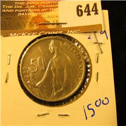 Czechoslovakia 50 Korun Coin Circa 1944-1947