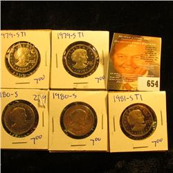 Susan B Anthony Proof Coin Lot Includes 1979-S Type1, 1979-S Type1, 1981-S Type 1, And Two 1980-S Do