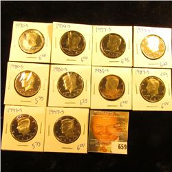 Proof Kennedy Half Dollar Lot Includes 1980-S, 1983-S, 1979-S Type 1, 1977-S, 1997-S, 1971-S, 1993-S