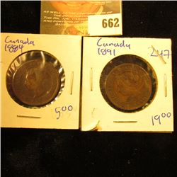 1891 And 1884 Canadian Large Cents