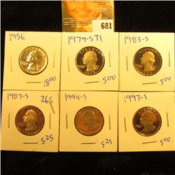 Proof Quarter Lot Includes 1956, 1994-S, 1997-S, 1979-S Type 1, 1983-S, And 1987-S