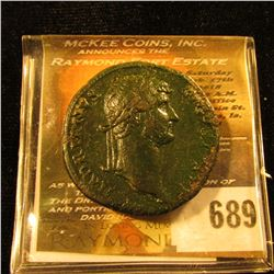Bronze Sestertius Of Hadrian Bronze Roman Coin …. This Is A Half Dollar Sized Coin With Lots Of Deta