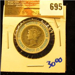 1944 Irradiated Mercury Dime.  This Is A Souvenir Of The American Museum Of Atomic Energy.  The Dime