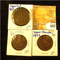 1850 & 1852 Bank Of Upper Canada Half Pennies; & 1857 Bank Of Upper Canada One Penny Token.