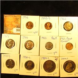 Proof Coin Lot Includes 1962 Dime, 1963 Silver Proof Toned Dime, 1956 Penny, 1993-S Penny, 1962 Nick