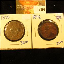 1846 And 1835 Large Cents