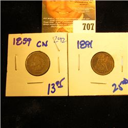 1891 Seated Liberty Dime And 1859 Indian Head Penny