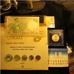 Israeli Coin, Stamp, And Paper Money Lot.  This Lot Includes A 40th Anniversary Of Israel Coin Set,
