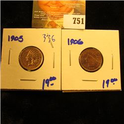 1905 And 1906 Indian Head Pennies