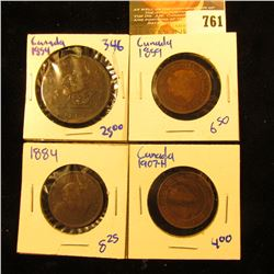 Canadian Coin Lot Includes Dragon Slayer Bank Of Upper Canada Bank Token Dated 1854, 1859 Large Cent