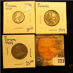 Coins From Panama Includes 1904 10 Centisimos, 1934 Quarter Balboa, And 1930 1/10th Balboa