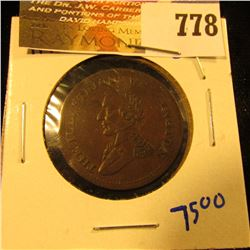 Waterloo Half Penny From Canada Dated 1816.  This Coin Is The Ten String Variety