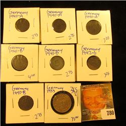 Silver German 2 Mark Coin Plus 5 And 10 Pfennig Coins All For 1 Money.  All Of The Coins Are Nazi Er