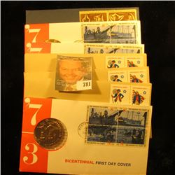7 First Day Issue Stamp And Medal Bicentennial Set
