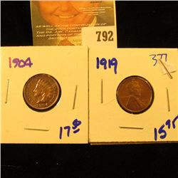 1919 Upgrade Wheat Penny And 1904 Indian Head Penny