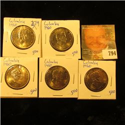 5 Beautiful 1960 50 Centavos Coins From Columbia